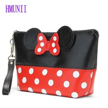 New Fashion Dot Bow Portable Mouse Bag PU Travel Organizer Cosmetic Bag Travel Trace Excellent Quality Wash Toiletry Bag(China)
