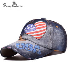 Pump QUEEN Hand Painted USA Letter Love Baseball Cap Women Snapback Hats Men Bone Feminino Hip Hop Hand-Painted Fashion Caps