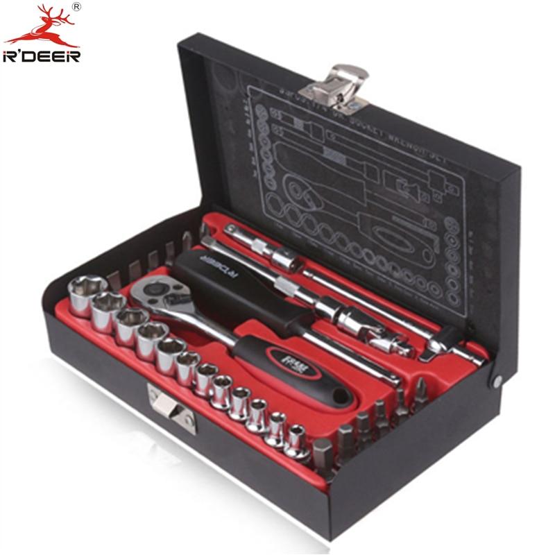 RDEER 33Pcs 1/4 Socket Wrenches Set Chrome-vanadium Steel Hand Tools Ratchet Wrench Car Repair Sleeves Tools<br>