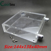 100% new Acrylic Full transparent optical drive PMMA Water tanks 400ML 144x138x40mm for computer water cooling tank cooler