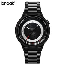 Break Black Camera Series Men Women Luxury Fashion Casual Stainless Steel Band Unique Sport Waterproof Quartz Watches for Man