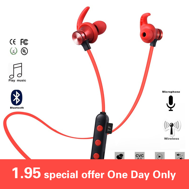 Magnetic Attraction Bluetooth Earphone Headset Waterproof Sports 5.0 With Charging Cable Earphone Build-in Mic Pluggable card(China)