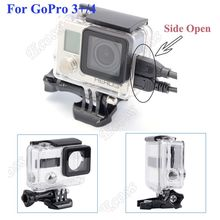 GoPro Hero 4 Hero 3+3 Protective Shell Case Side Opening Housing Connected AV USB HDMI Cable For Gopro Hero 4 3+3 Accessories(China)