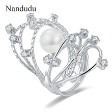 Nandudu Unusual Ring Jewelry Gift White Gold Color Crystal Man-made Pearl Rings New Fashion Gift R1119