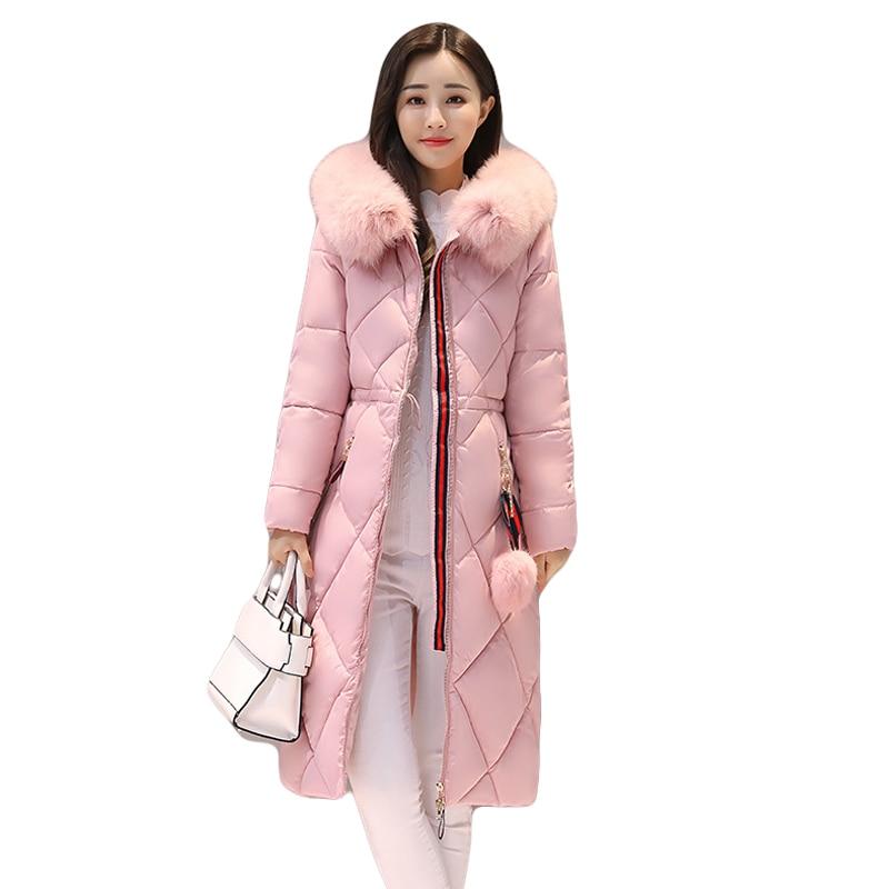 2017 Long Parkas Women Large Fur Collar Hooded Jacket Female Warm Winter Coat Outwear Thick Padded Cotton Coat Plus Size CM1395Îäåæäà è àêñåññóàðû<br><br>