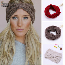 FEITONG 2017 hair accessories Fashion Winter Warm Women Bowtie Crochet Braided Knit Wool Hat Cap Headband For Women Hair Band(China)