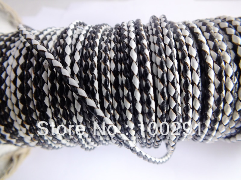 Free shipping !!!  3mm Braided Leather Necklace Cord white+black jewelry findings accessories X145632