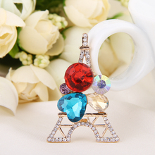 Shiny Gem Crystal Eiffel Tower 3D alloy stickers DIY Decoration Cell Phone Accessories/Charms/Adornment/Jewelry Making Materials