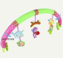 Seat Arch Along baby bed stroller car clip lathe hanging Rattle Bell forest Animal plush Removable infant toy