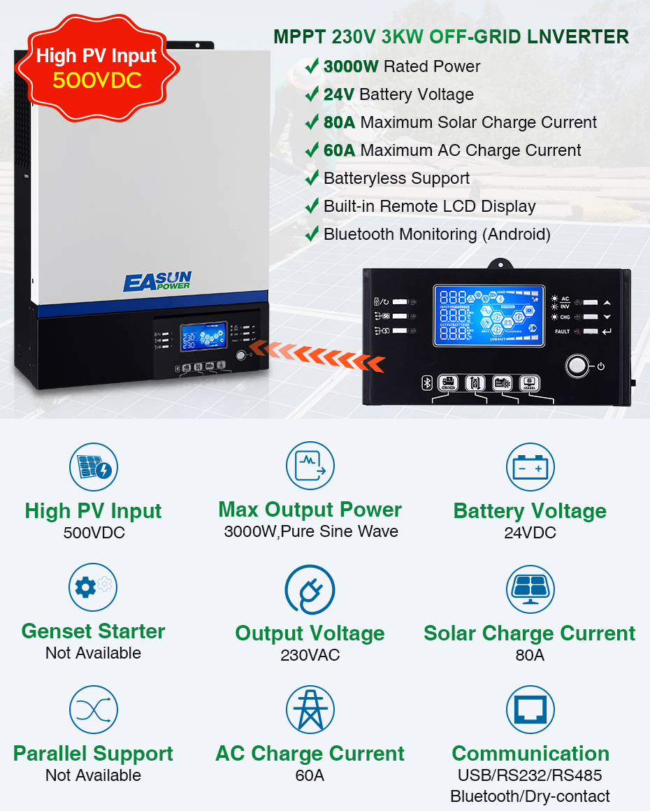 EASUN POWER 3000W Solar Inverter 230Vac 24Vdc 80A MPPT Solar Charger Bluetooth For Mobile Monitoring Supports USB LCD Control_01