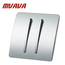 MVAVA Electric Key Push Button Light Control Switch 2 Gang 2 Way 250V 220V Wall Switches Luxury Polished 86*86 PC Panel