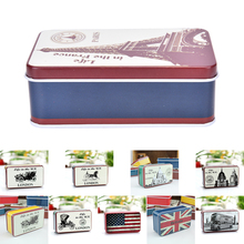 Hot Selling Candy Jewelry Sundries Storage Box Fashion UK Flag Tin Metal Box Home Decor Decoration 10 Styles