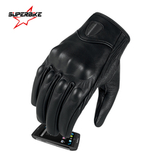 Motorcycle Gloves Men Touch Screen Genuine Leather Glove Cycling Racing Full Finger Motorbike Moto Bicycle Bike Motocross Luvas