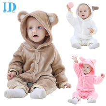 IDGIRL Baby Winter Romper 2017 Flannel Newborn Baby Boys Clothing Animal Baby Onesie Jumpsuit Baby Pink Girls One Piece JY018()