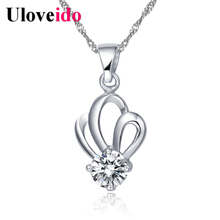 Crystal Flower Long Necklace Women Lady Brincos Silver Necklaces with Chain Best Friends Pendant Jewellery Wholesale Ulove N280(China)