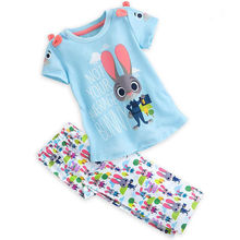 2Pcs Clothes Sets Kids Girls Bunny Cute T-Shirts Long Pants Short Sleeve Tops Outfits Set Cotton Colorful Girl 2-7 Year(China)