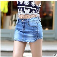 2017 Spring And Summer WomenSlim Denim Skirts Shorts Size 26/32 Female Casual Jeans Short Light Blue Leisure Cowboy Short J1826(China)