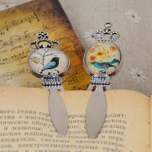 Gift Newest Glass Cabochon Bookmark Cute Cartoon Bird Flowers Pattern Design Fashion Office & School Supplies 9*2cm (L*W)