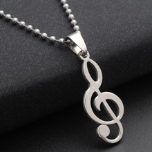 Western Styles Men's Necklace Titanium Stainless Steel Pendant Necklace Music Notes Necklace Sweater