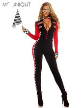 MOONIGHT Long Sleeve Sexy Uniforms Race Car Driver Halloween Costumes For Women Deep V Sexy Game Uniforms Clothing Jumpsuits(China)