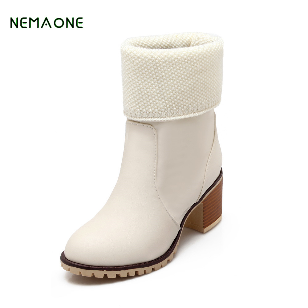 NEMAONE 2017 Winter High Heel Boots Women Snow Boots Sexy Ankle Suede Flock Solid Fashion Handmade Woman<br>