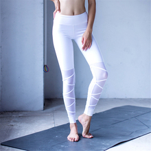 Oyoo Cross Fitness Athletic Leggings White Strappy Mesh Patchwork Yoga Pants Sport Legging Nylon Dance Tights Workout Apparel(China)