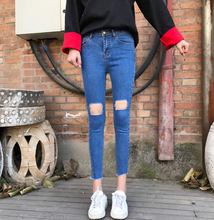 Chun xia han edition of tall waist new super elastic comfortable hole hand burrs feet pants jeans are female(China)