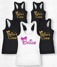 personalized CUTE MOUSE wedding bride crew bridesmaind t shirts Bachelorette tanks tops t-shirts gifts bridal party favors(China)