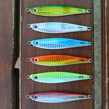 6pcs/lot Deep sea fishing lure lead fish jig 40g luminous belly, hard bait fishing lure,without hooks(China)