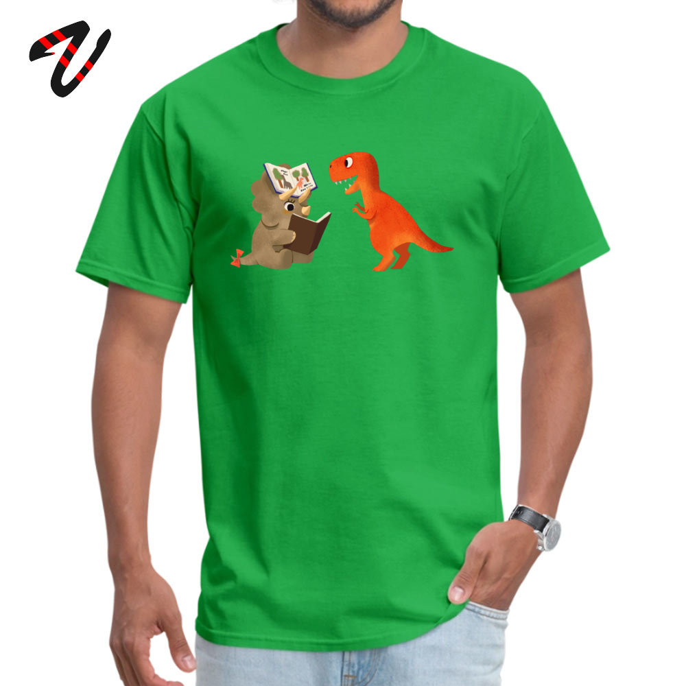 BOOK DINOSAURS T Shirt for Men Casual Summer Tops Shirt Short Sleeve Coupons Simple Style Tee Shirts Round Neck 100% Cotton BOOK DINOSAURS 04 -17446 green