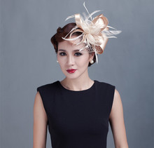 Brand Fashion Woman Floral Sinamay Hair Accessories Elegant Veil Fascinator Feather Hat Wedding Party Bride Hair Clip European H