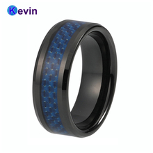 Tungsten Mens Wedding Ring Black Color With Blue Carbon Fiber Inlay(China)
