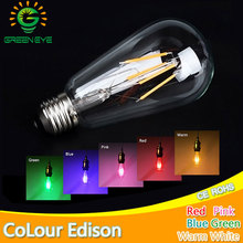 Blue Red Pink Green Color Led Edison Filament Light ST64 COB LED Bulb Lamp 220v E27 Retro Globe Replace Incandescent Warm White(China)