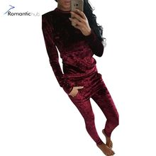 Romantichut Women Suits Velvet Casual Womens' Tracksuit 2017 New Autumn Winter Set Female High Quality Two Piece Set Pants&Tops(China)