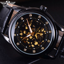 Winner Skeleton Automatic Mechanical Watch Top Brand Luxury Mens Wrist Business Watches Men Male Military Army Sport Clock Box