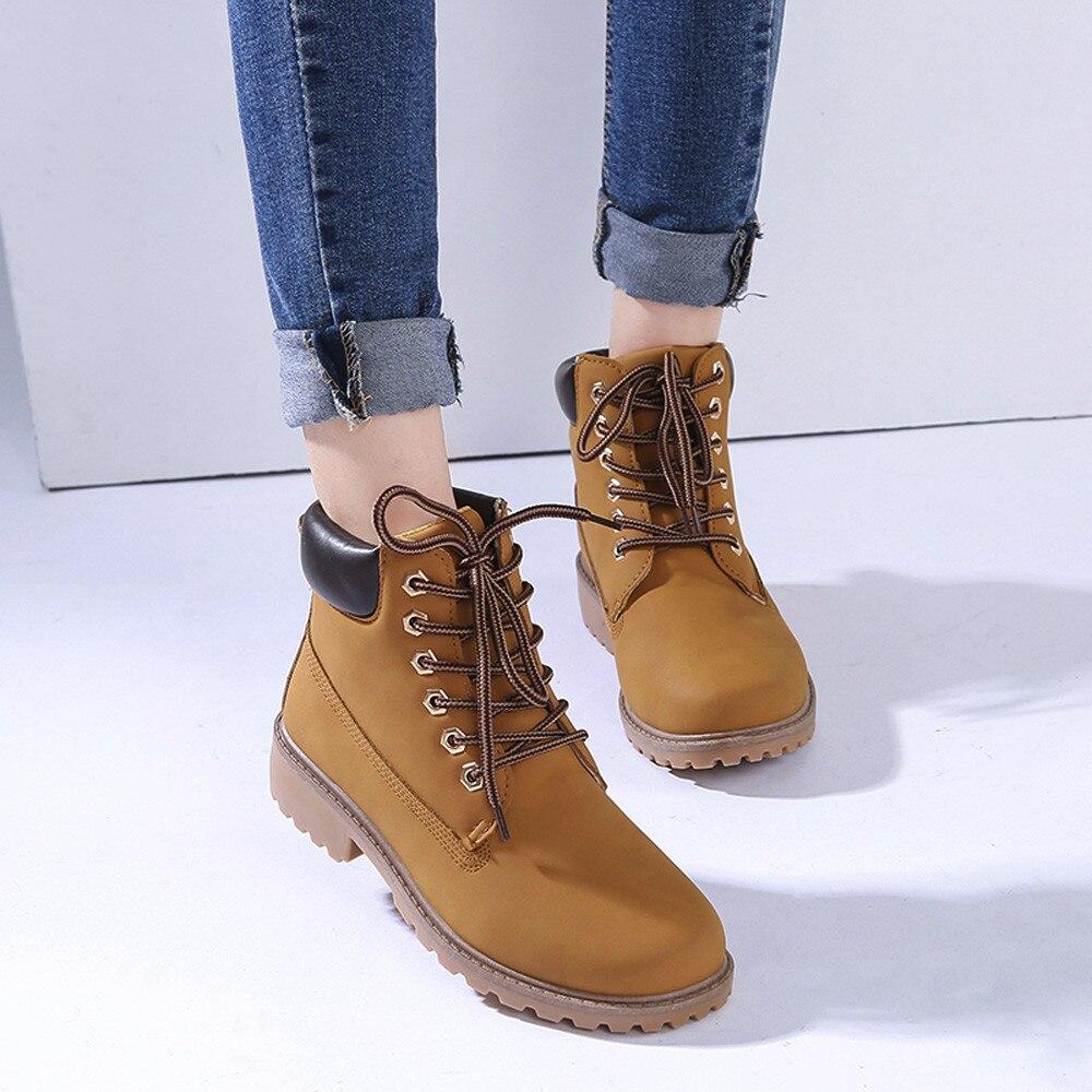 Szyadeou Women Ladies Round Toe Lace-up Faux Boots Ankle Casual Martin Shoes botas mujer invierno kozaki damskie schoenen 30 26