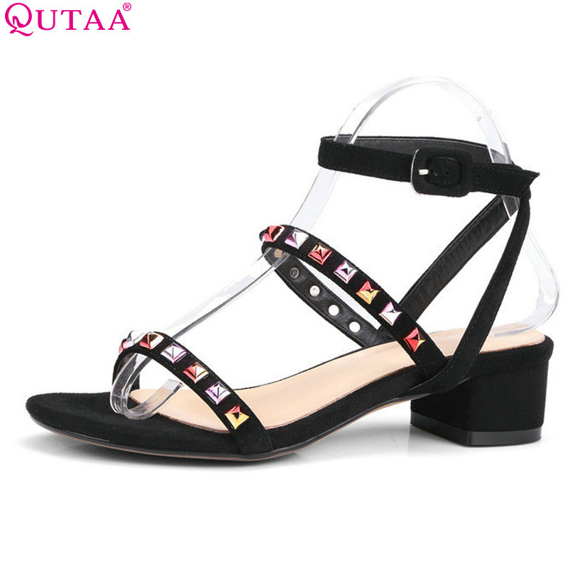 QUTAA 2017 Women Sandals Square Med Heel Platform Women Shoes Genuine Leather Slingback Rivet Ladies Wedding Shoes Size 34-40<br>