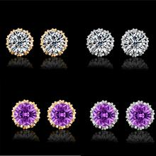 Earrings for Women Hot Fashion Elegant Simple Shining Crystal Rhinestone Crown Stud Earrings Delicate Jewelry Gif(China)