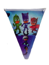 Birthday Baby Shower Cartoon Theme Paper Flags Decoration PJ Masks Pennats Kids Favors Party Banners Event Supplies