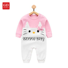 Spring Autumn Winter Baby Clothes Cotton Baby girls Clothes Pink Cartoon Kitty Jumpsuits Infant Girl Rompers Baby Clothing Gift