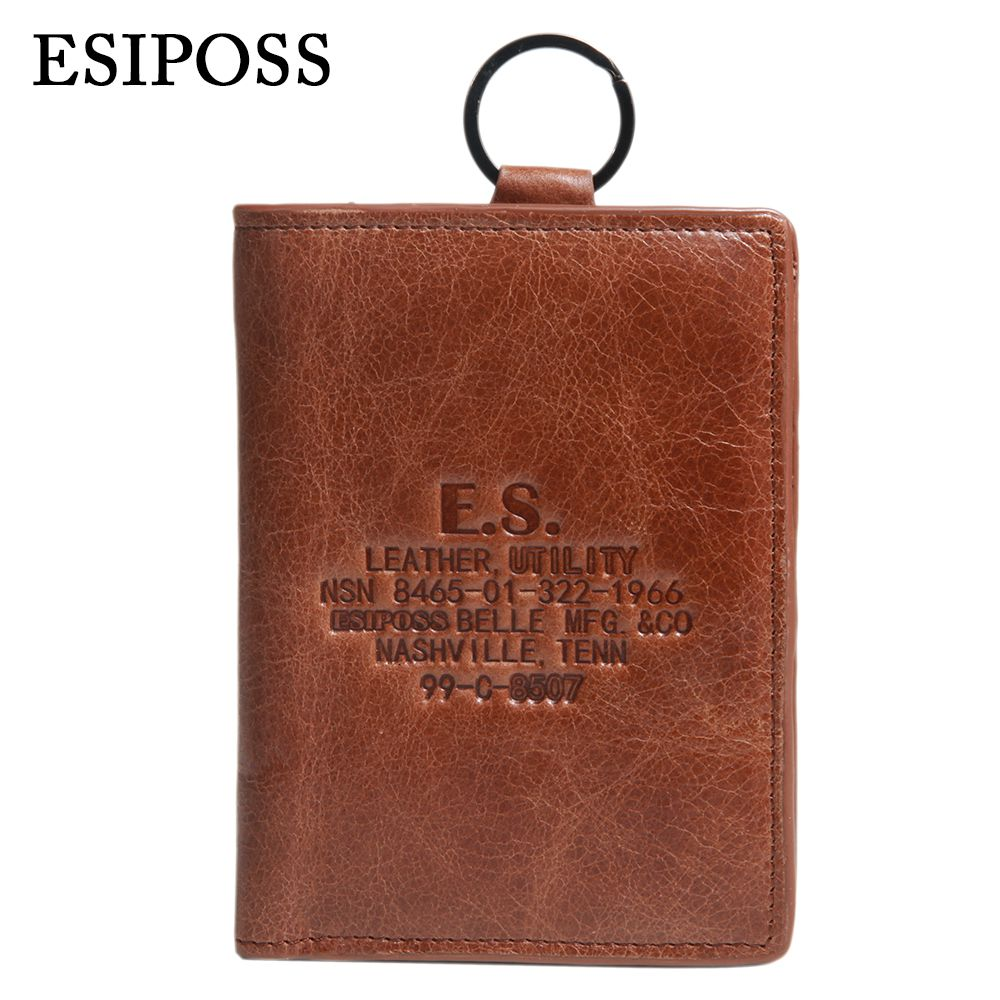 ESIPOSS Logo Brand Genuine Leather Mens Short Wallets With Key Ring Large Capacity Trifold Top Quality Wallets for Men<br><br>Aliexpress