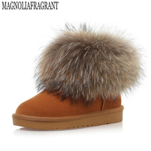 Natural Big Fox Fur Women's Winter Snow Boots  winter boots Cotton Boots Winter Cow Muscle Round Toe 100% Genuine Leather Boots