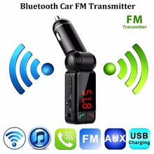 Car Kit Bluetooth FM Transmitter Car MP3 Audio Player Wireless FM Modulator LCD Display Dual USB Charger for iPhone Samsung(China)