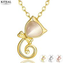 KITEAL 2017 Gold color Yellow/White/Rose Yellow color women necklaces & pendants cute cat animal zircon collar diy(China)