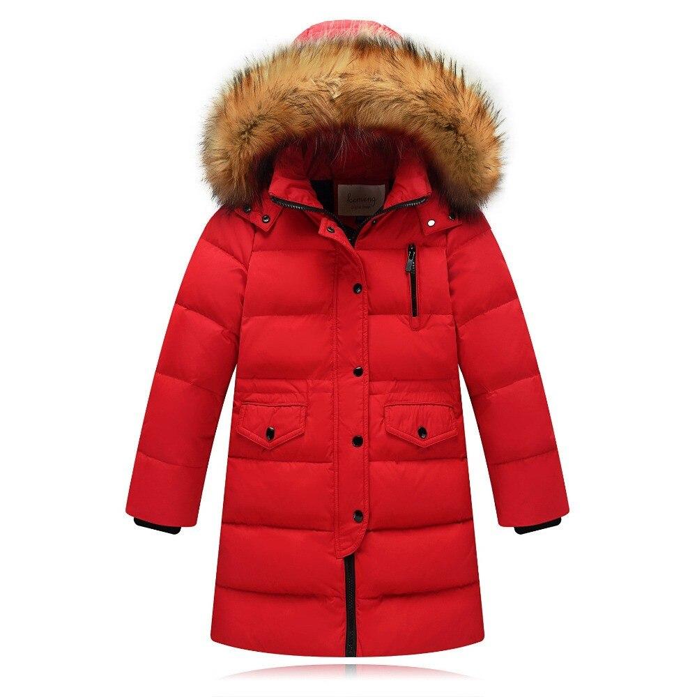 Newly Children Winter duck down long jacket fur hoodied solid thickening for Russia winter clothes for kids school boy girlÎäåæäà è àêñåññóàðû<br><br>
