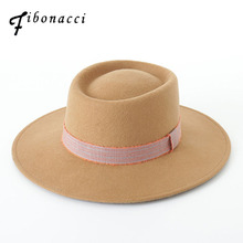 Fibonacci Men Wool Felt Pork Pie Hats Winter Women 100%Wool Felt Hat Mens Blank Flat Wide Brim Fedora Hat(China)