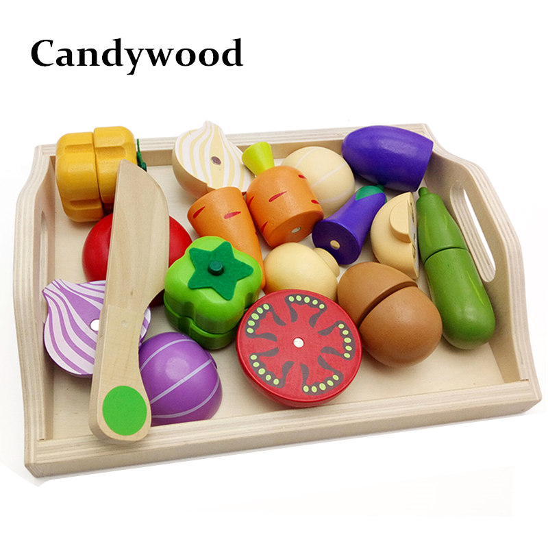 Mother garden Baby Wooden Kitchen Toys Cutting Fruit Vegetables education food toys for kids girl for Preschool Children(China (Mainland))