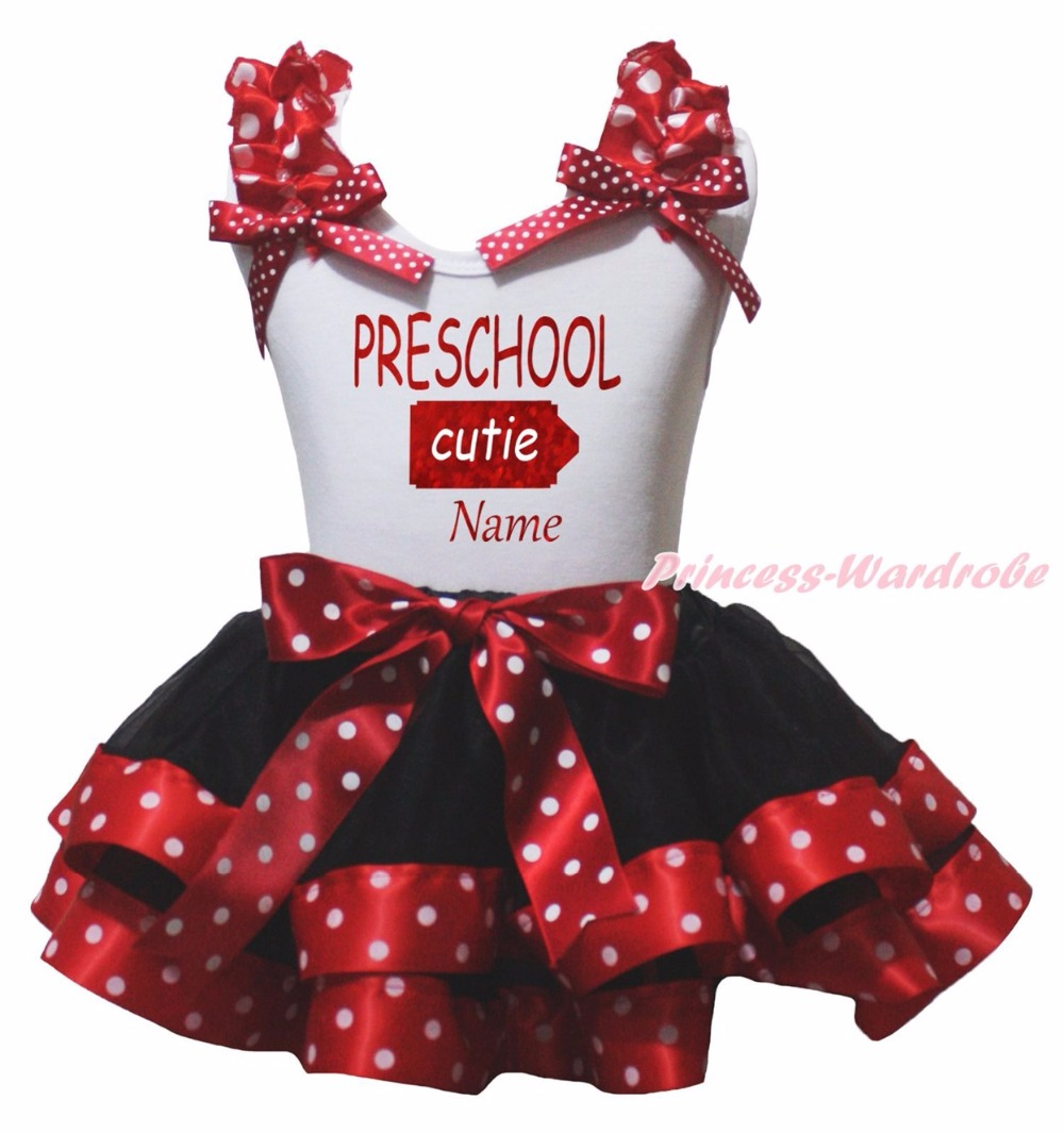 Personalize PRESCHOOL CUTIE White Top Dots Red Black Satin Trim Skirt NB-8Y<br>
