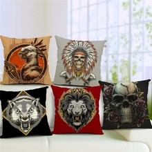 Stylish Skull 3D Printed Cushion Cover Polyester Linen Throw Pillow Case Cool Men Cushion Covers Bar Decor Halloween Decoration(China)