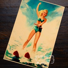 Girl Water Skiing Pin Up Art Pop Ski Print Trip Travel Retro Vintage Poster Decorative DIY Wall Art Home Bar Posters Decor